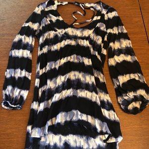 Blue striped long sleeve dress